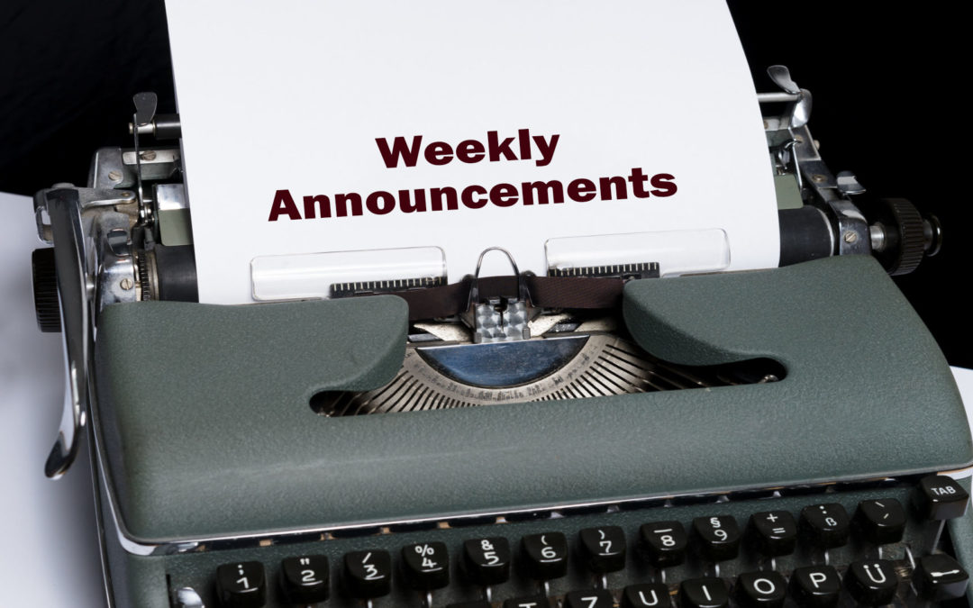 Weekly Announcements for this week
